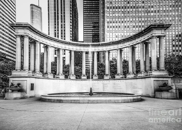 America Greeting Card featuring the photograph Chicago Millennium Monument In Black And White by Paul Velgos