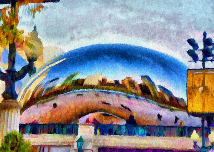 Bean Greeting Card featuring the painting Chicago Reflected by Jeff Kolker