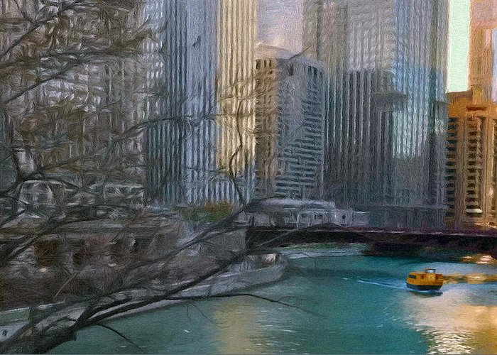 Architecture Greeting Card featuring the painting Chicago River Sunset by Jeff Kolker