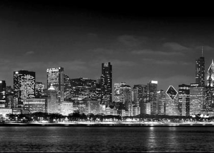 Chicago Skyline Greeting Card featuring the photograph Chicago Skyline At Night Black And White by Jon Holiday