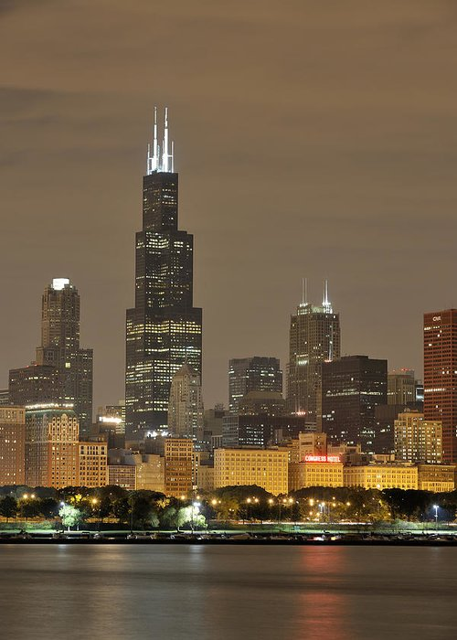 Chicago Skyline Greeting Card featuring the photograph Chicago Skyline At Night by Sebastian Musial
