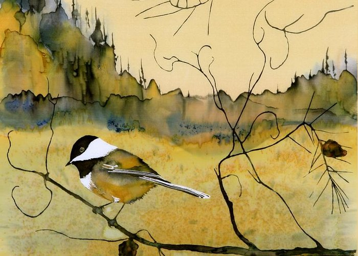 Chickadee Greeting Card featuring the tapestry - textile Chickadee In Dancing Pine by Carolyn Doe