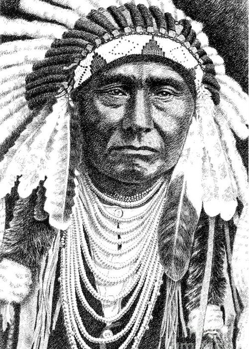 Jim Bridger Greeting Card featuring the drawing Chief-joseph by Gordon Punt