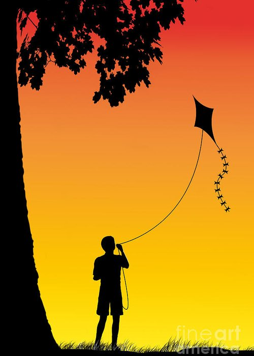 Childhood Dreams Greeting Card featuring the drawing Childhood Dreams 1 The Kite by John Edwards