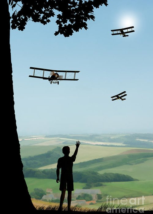 Avro 504k Flypast Greeting Card featuring the painting Childhood Dreams The Flypast by John Edwards