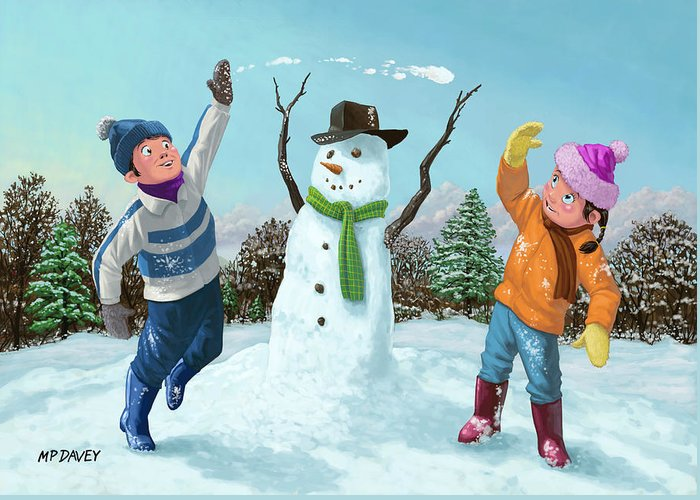 Children Greeting Card featuring the painting Children Playing In Snow by Martin Davey