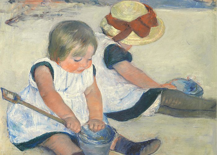 Child; Bucket; Spade; Seaside; Holiday; Victorian; Smock; Girl; Girls; Straw; Hat; Coast; Scene Greeting Card featuring the painting Children Playing On The Beach by Mary Stevenson Cassatt