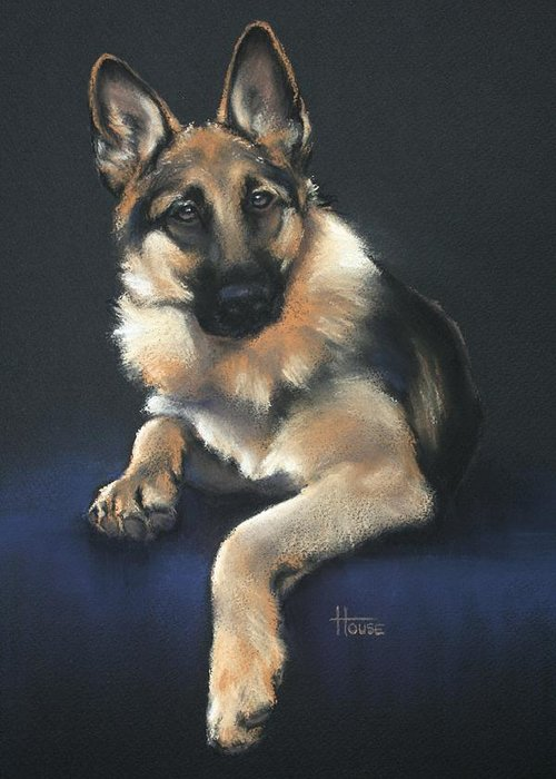 German Shepherd Greeting Card featuring the drawing Chilli by Cynthia House