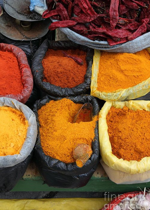 Markets Greeting Card featuring the photograph Chilli Powders 3 by James Brunker