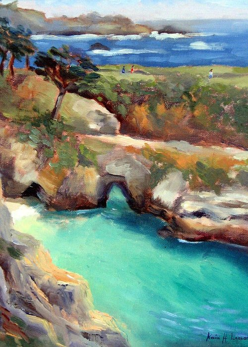 Point Lobos Greeting Card featuring the painting China Cove Point Lobos by Karin Leonard