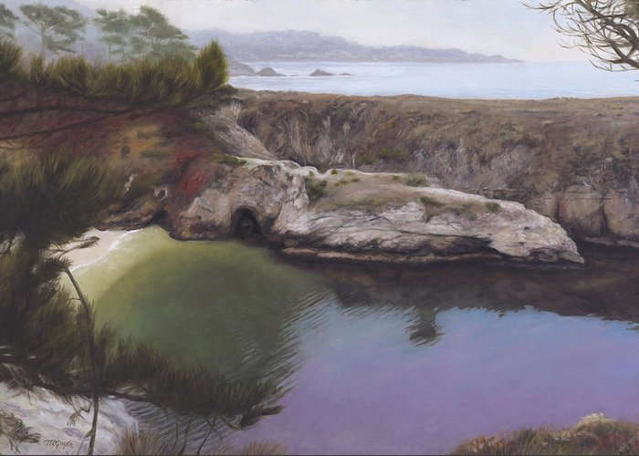 Monterey Greeting Card featuring the painting China Cove by Terry Guyer