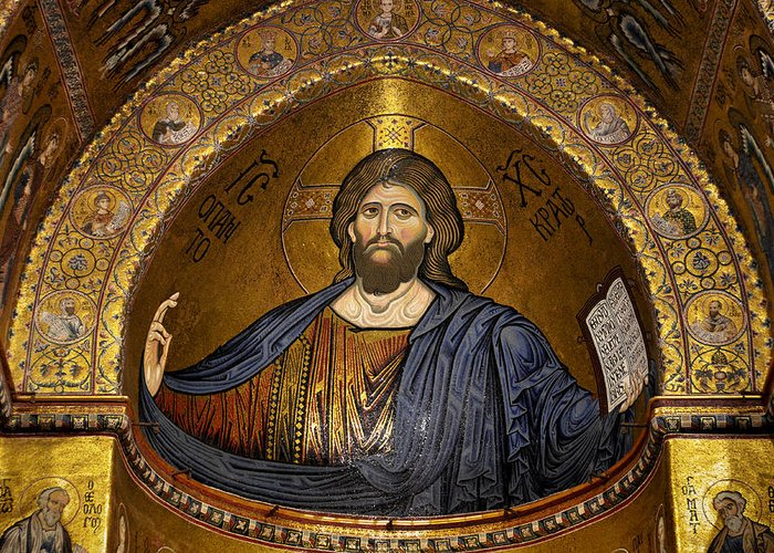 Christ Greeting Card featuring the photograph Christ Pantocrator Mosaic by RicardMN Photography