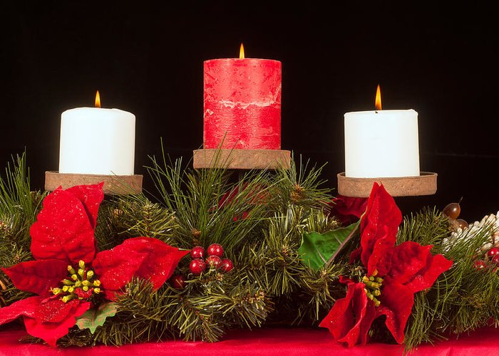 Christmas Greeting Card featuring the photograph Christmas Candle Trio by Kenneth Sponsler