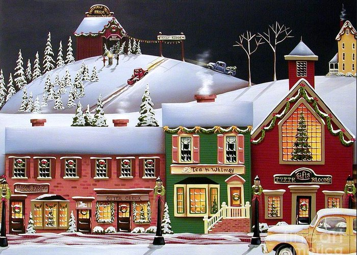 Art Greeting Card featuring the painting Christmas In Holly Ridge by Catherine Holman