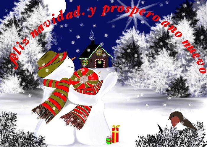 Feliz Navidad Y Prospero Ano Nuevo. Greeting Card featuring the digital art Christmas. Star. Spanish by Elizabeth millan Rodriguez