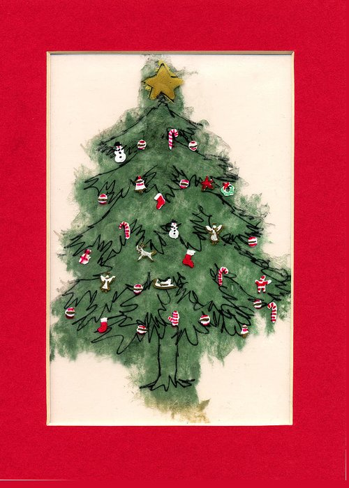 Christmas Paintings Greeting Card featuring the painting Christmas Tree With Red Mat by Mary Helmreich