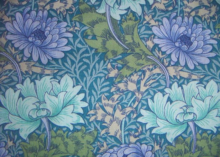 William Greeting Card featuring the tapestry - textile Chrysanthemums In Blue by William Morris