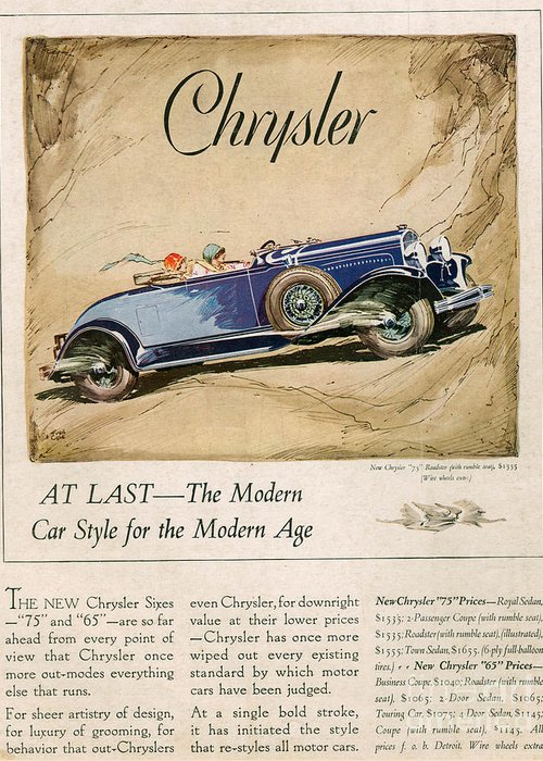 Adverts Greeting Card featuring the drawing Chrysler 1928 1920s Usa Cc Cars by The Advertising Archives