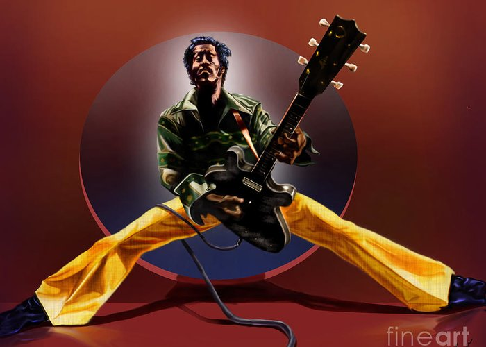 Chuck Berry Greeting Card featuring the painting Chuck Berry - This Is How We Do It by Reggie Duffie