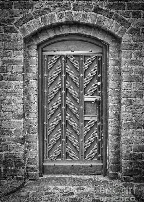 Monochromatic Greeting Card featuring the photograph Church Door 02 by Antony McAulay