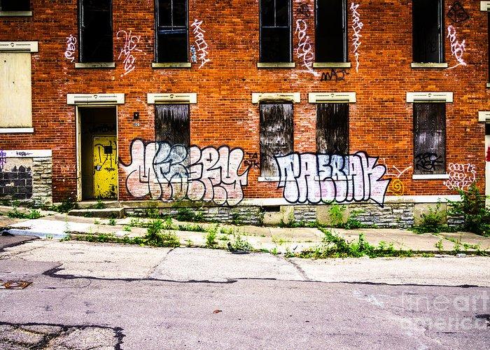 America Greeting Card featuring the photograph Cincinnati Glencoe Auburn Place Graffiti Photo by Paul Velgos