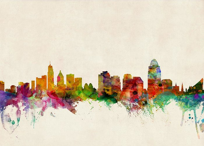 Watercolour Greeting Card featuring the digital art Cincinnati Ohio Skyline by Michael Tompsett