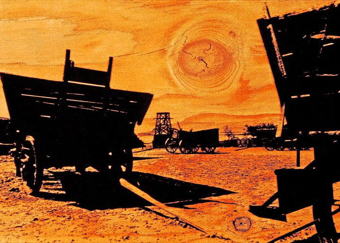 Calico Ghost Town Greeting Card featuring the photograph Circle The Wagons by Mike Flynn
