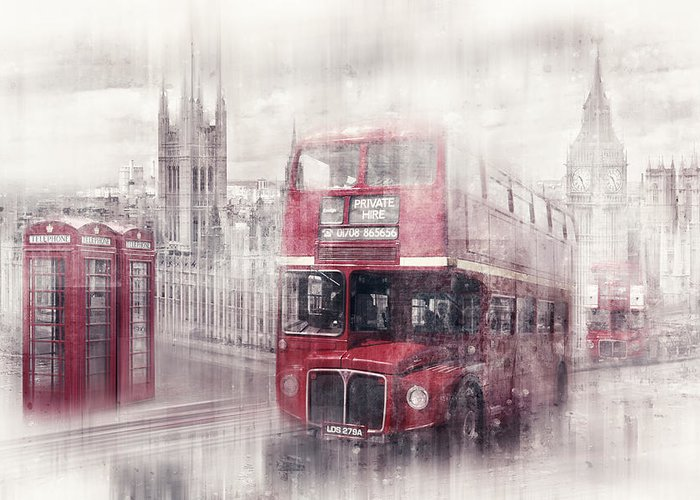 British Greeting Card featuring the photograph City-art London Westminster Collage II by Melanie Viola
