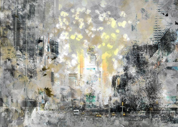 Usa Greeting Card featuring the photograph City-art Manhattan Sunflower by Melanie Viola