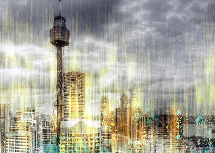 Australia Greeting Card featuring the photograph City-art Sydney Rainfall by Melanie Viola