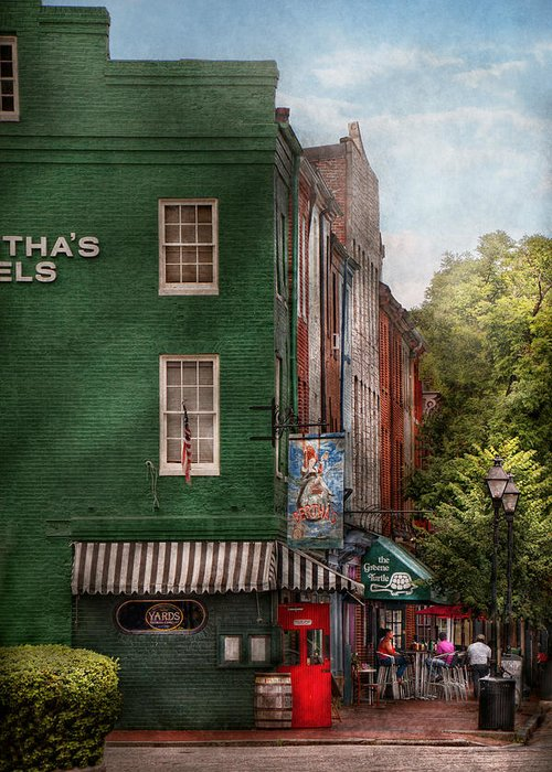 Baltimore Greeting Card featuring the photograph City - Baltimore - Fells Point Md - Bertha's And The Greene Turtle by Mike Savad