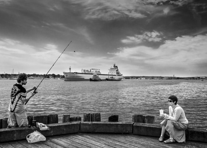Seascape Greeting Card featuring the photograph City Fishing by Bob Orsillo