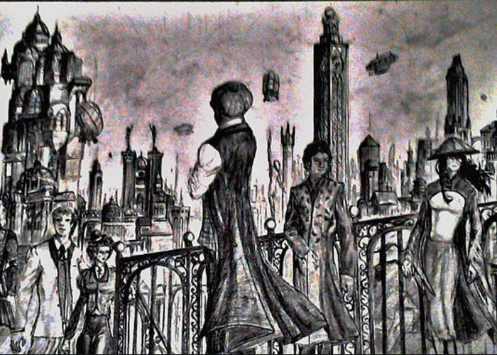 Steampunk Greeting Card featuring the drawing City Of Babel by George Harrison