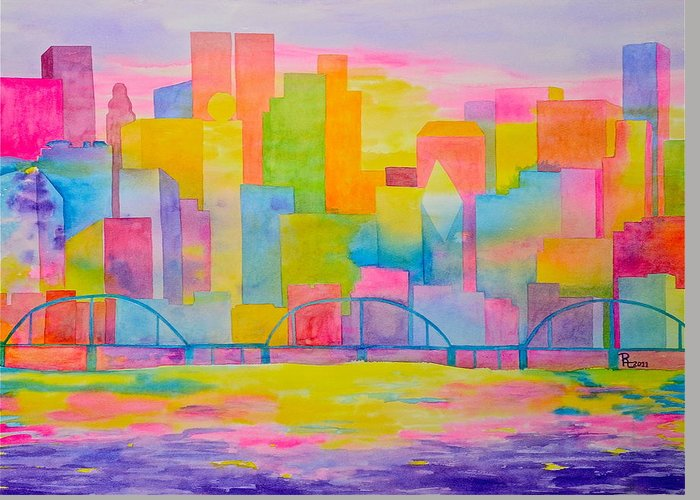 Abstract City Greeting Card featuring the painting City To Dye For by Rhonda Leonard