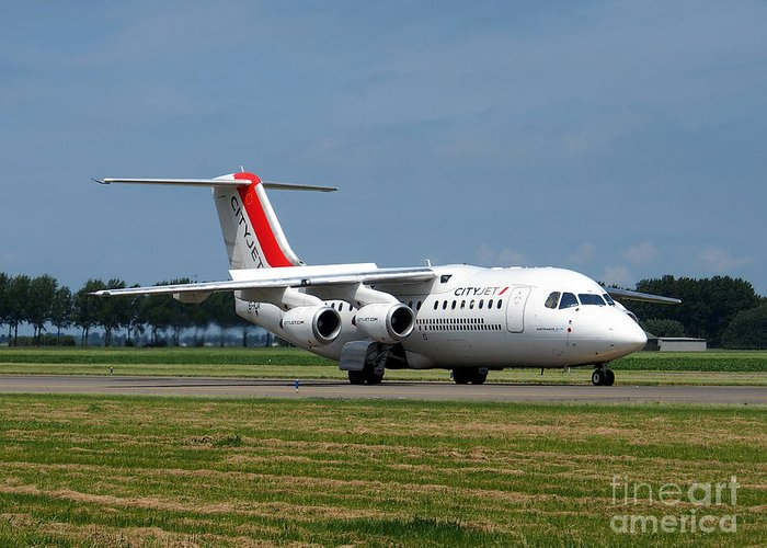 737 Greeting Card featuring the photograph Cityjet British Aerospace Avro Rj85 by Paul Fearn