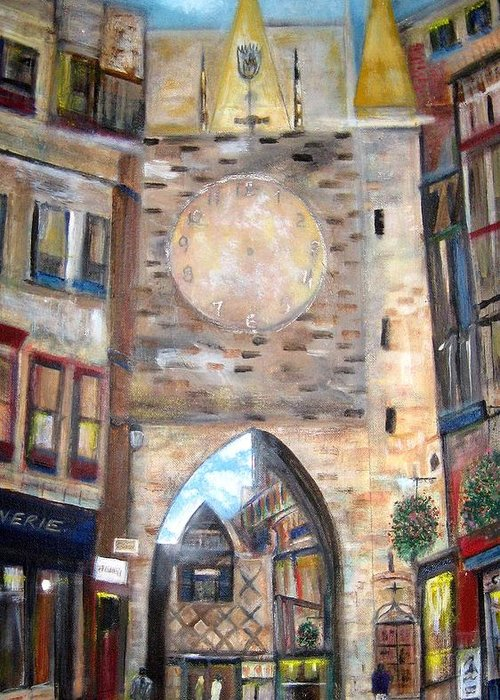 Cityscape Greeting Card featuring the painting Cityscape European by Rick Todaro