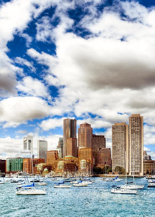 Boston Harbor Greeting Card featuring the photograph Classic Boston Skyline From The Water by Mark E Tisdale