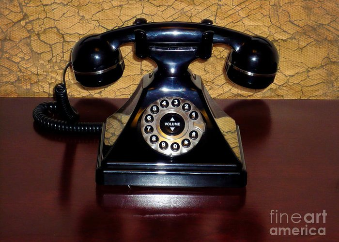 Classic Telephone Greeting Card featuring the photograph Classic Rotary Dial Telephone by Mariola Bitner