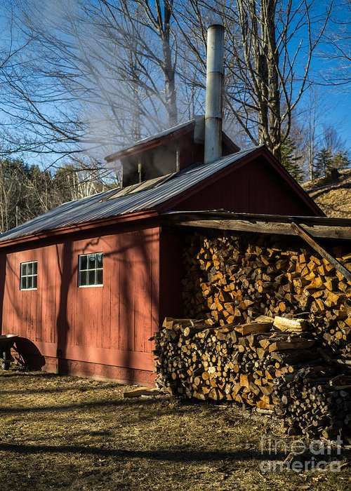 Shack Greeting Card featuring the photograph Classic Vermont Maple Sugar Shack by Edward Fielding