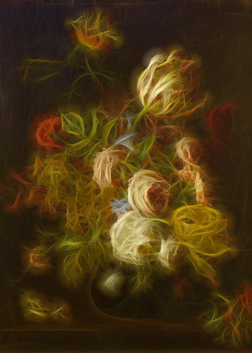Flowers Digital Art Greeting Card featuring the digital art Classica Modern - M01 by Variance Collections
