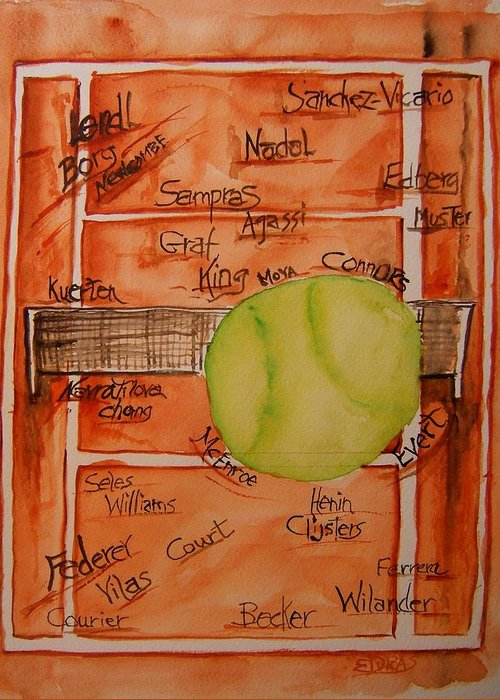Tennis Greeting Card featuring the painting Clay Courters by Elaine Duras