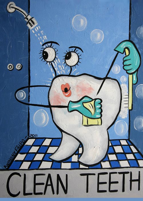 Dental Art Greeting Card featuring the painting Clean Tooth by Anthony Falbo