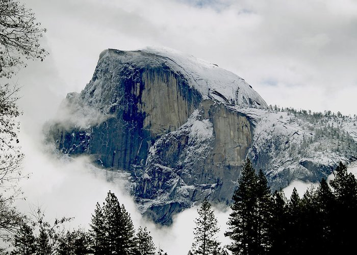Yosemite Greeting Card featuring the photograph Clearing Storm Around Half Dome by Bill Gallagher