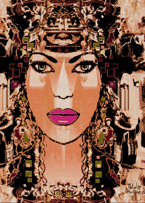 Cleopatra Greeting Card featuring the mixed media Cleopatra by Natalie Holland