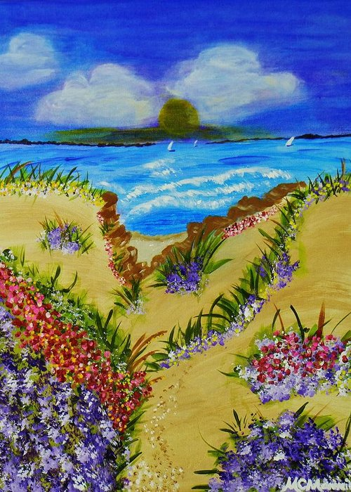 Seascape With Flowers Greeting Card featuring the painting Cliff Notes by Celeste Manning