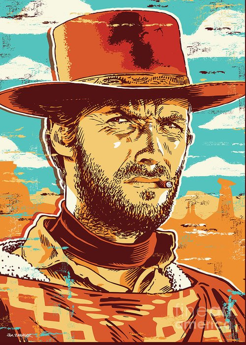 Illustration Greeting Card featuring the digital art Clint Eastwood Pop Art by Jim Zahniser