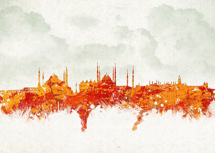 Architecture Greeting Card featuring the digital art Clouds Over Istanbul Turkey by Aged Pixel