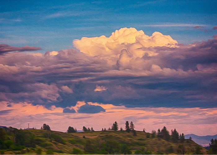 North Cascades Greeting Card featuring the painting Cloudy Sunset by Omaste Witkowski