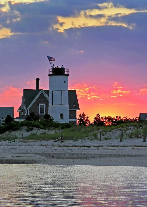 Cocktail Greeting Card featuring the photograph Cocktail Hour At Sandy Neck Lighthouse by Charles Harden