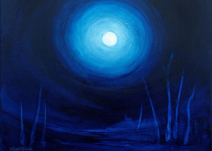 Moon Greeting Card featuring the painting Cold Orb by Michelle Wiarda